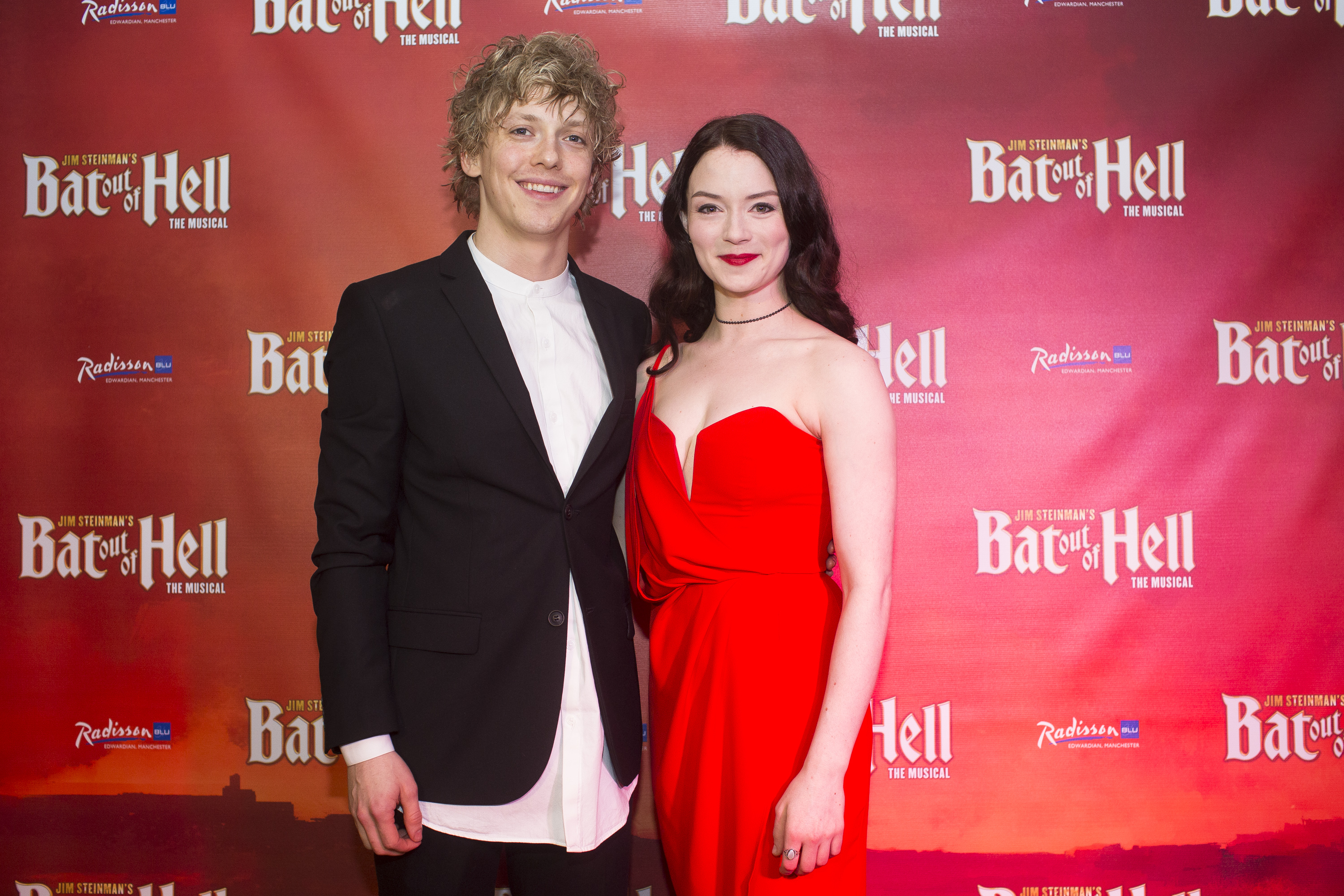 Andrew Polec (Strat) & Christina Bennington (Raven) at First Night of Bat Out of Hell Manchester Opera House credit Phil Tragen