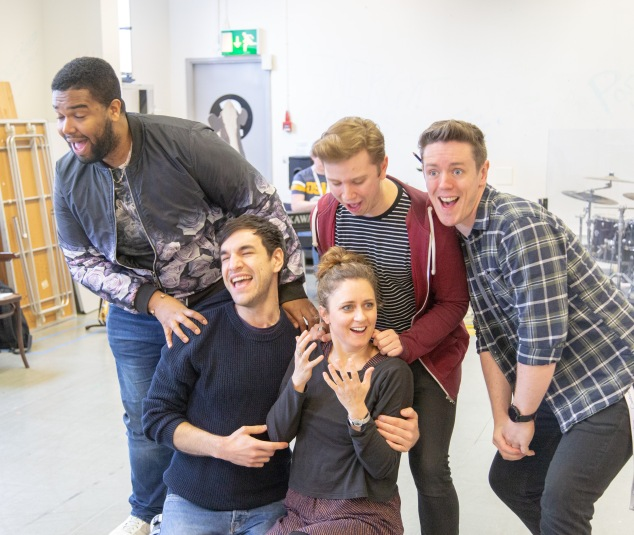 Alexander Bean, Michael Peavoy, Barbara Hockday, Luke Thorn and David Heywood -Summer Holiday rehearsal photos taken by Ray%